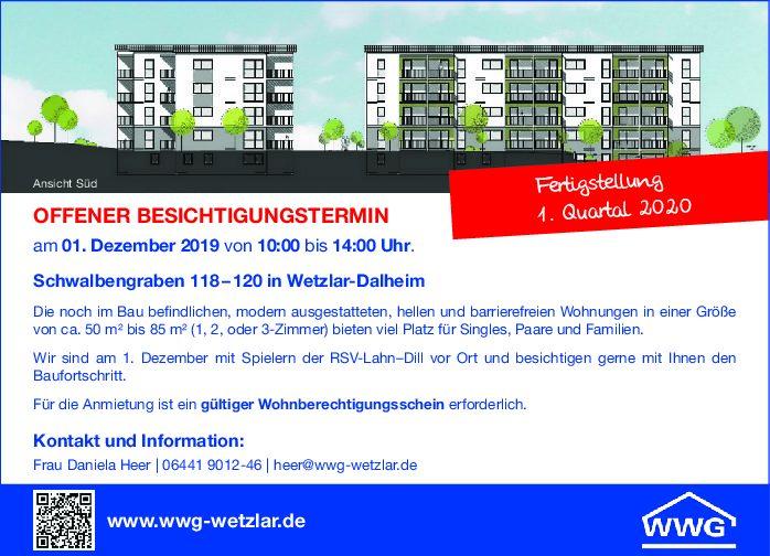 Besichtigungstermin des 2. Bauabschnittes Schwalbengraben 118–120!
